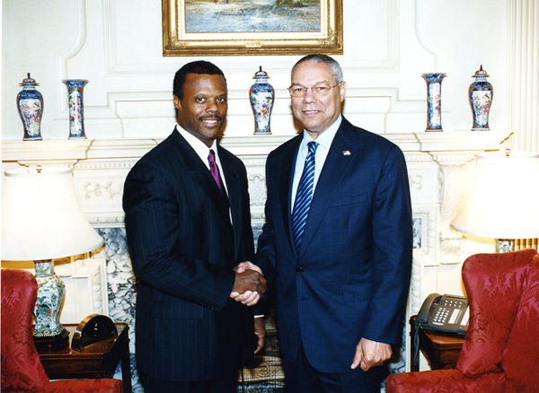 J.C. Watts and Colin Powell Photo (2003) Secretary Powell met with J. C. Watts, former Oklahoma Congressman, September 2 at the State Department. Mr. Watts will lead the U.S. delegation to the Conference on Racism, Xenophobia and Discrimination, hosted by the Organization for Security and Cooperation in Europe (OSCE) in Vienna, Austria, September 4-5. State Department Photo by Michael Gross