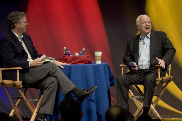 McCain Google Schmidt Senator John McCain (R-AZ) and Google CEO Eric Schmidt (L) speak to employees at Google May 4, 2007 in Mountain View, California. McCain took part in a town hall meeting on the Google campus after taking a tour of the internet giant's facilities. (Photo by David Paul Morris/Getty Images) *** Local Caption *** Eric Schmidt;John McCain