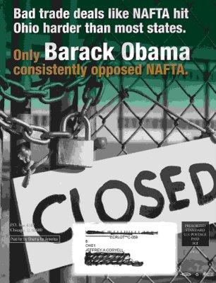 Only Barack Obama Consistently Opposed NAFTA Flyer