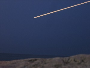 A meteor heading towards earth.