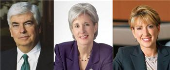 Chris Dodd, Kathleen Sebelius, Carly Fiorina