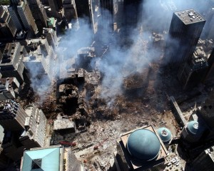Aerial view of World Trade Center after September 11 attacks