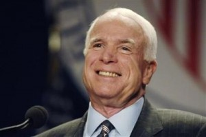 Republican presidential candidate Senator John McCain (R-AZ) smiles as he addresses a League of United Latin American Citizens conference in Washington, July 8, 2008. (Jonathan Ernst/Reuters)
