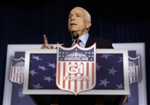 Republican presidential candidate Sen. John McCain, R-Ariz. speaks during a campaign stop at the American GI Forum Convention in Denver, Friday, July 25, 2008. (AP Photo/Carolyn Kaster)