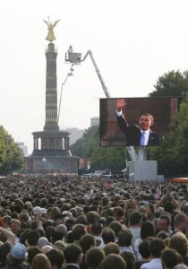 US Democratic presidential hopeful, Barack Obama, seen on large TV screens, makes a speech in front of the Victory Column in Berlin on July 24, 2008. Obama warned America could not quell violence in Afghanistan alone, and called on Europe for more troops and funding to defeat the Taliban and Al-Qaeda.   AFP PHOTO    DDP / SEBASTIAN WILLNOW   GERMANY OUT (Photo credit should read SEBASTIAN WILLNOW/AFP/Getty Images)