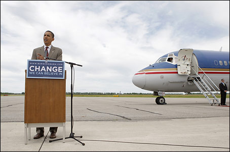 Sen. Barack Obama (D-Ill.) speaks during a news conference held at Hector International Airport in Fargo, N.D., July 3, 2008. (Associated Press)