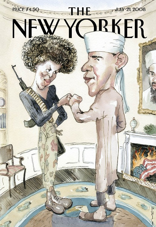 July 21, 2008 New Yorker:  Barack Obama as Muslim, Michelle Obama as Terrorist, Osama bin Laden over fireplace