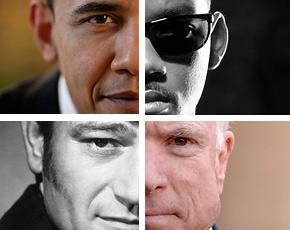 Obama as Will Smith, McCain and John Wayne
