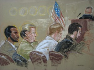 Salim Ahmed Hamdan, pictured at far left in this courtroom sketch from June 2007, was charged wih conspiracy and providing material support to terrorists in a military tribunal, held Dec. 5, at Guantanamo Bay. U.S. authorities stipulate that Hamdan was Osama Bin Laden\'s driver and also actively involved in terrorist activities. Joint Task Force Guantanamo conducts safe and humane care and custody of detained enemy combatants. The JTF conducts interrogation operations to collect strategic intelligence in support of the Global War on Terror and supports law enforcement and war crimes investigations. JTF Guantanamo is committed to the safety and security of American service members and civilians working inside its detention facilities.