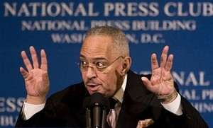 Rev. Jeremiah A. Wright Jr., pastor of Chicago\'s Trinity United Church of Christ and former pastor of Democratic presidential hopeful Sen. Barack Obama, D-Ill., addresses a breakfast gathering at the National Press  Club in Washington, Monday, April 28, 2008. (AP Photo/J. Scott Applewhite)