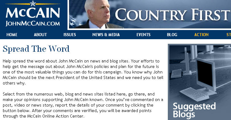 McCain Spamming Blogs