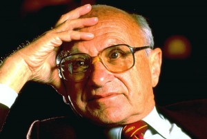 Nobel prize-winning economist Milton Friedman sitting w. his hand to his forehead.  (Photo by Chuck Nacke//Time Life Pictures/Getty Images) Circa 1989