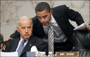 Barack Obama confers with Sen. Joe Biden (D-Del.) during a hearing of the Senate Foreign Relations Committee, which Biden chairs.
