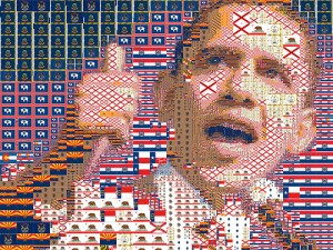 Experimental mosaic portrait of Senator Barack Obama made out of American State flags. Original photo taken by BarackObamaDotCom Flickr photo stream and could be seen here.