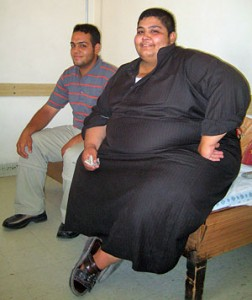 Tina Susman / Los Angeles Times Haidar Kareem Said, who weighs 495 pounds, sits with his brother, Mohammed Kareem Said, while awaiting an operation to have a band placed around his stomach.