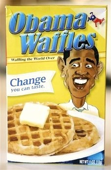 A box of Obama Waffles is seen in Washington, Saturday, Sept. 13, 2008. A vendor at a conservative political forum was selling boxes of waffle mix depicting Democratic presidential candidate Barack Obama as a racial stereotype on its front and wearing Arab-like headdress on its top flap. The product was meant as political satire, said Mark Whitlock and Bob DeMoss, two writers from Franklin, Tenn., who created the mix and sold it for $10 a box at the Values Voter Summit sponsored by the lobbying arm of the Family Research Council. (AP Photo/Evan Vucci)
