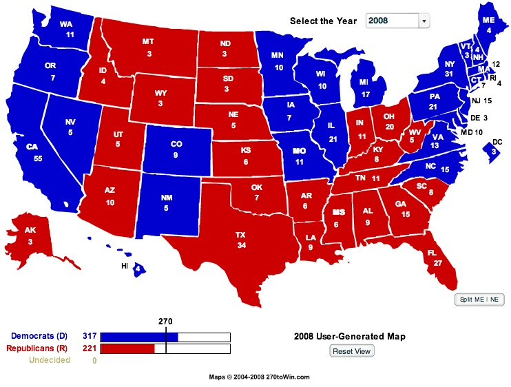 Electoral College Projection: Obama 317, McCain 221
