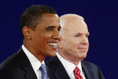 U.S. Republican presidential nominee Senator John McCain (R-AZ) (R) and Democratic presidential nominee Senator Barack Obama (D-IL) smile after their debate at Belmont University in Nashville, Tennessee October 7, 2008. REUTERS/Jim Young