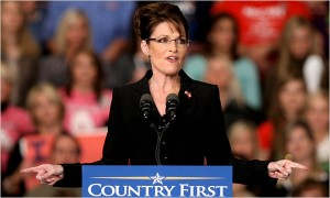 Gov. Sarah Palin, campaigning Thursday in Cape Girardeau, Mo., as poll numbers flagged.  (Whitney Curtis/Getty Images)