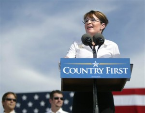 Republican vice presidential candidate Alaska Gov. Sarah Palin speaks to supporters during a rally at the Richmond International Raceway Monday, Oct. 13, 2008, in Richmond, Va. (AP Photo/Lisa Billings)