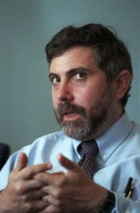 U.S. economist Paul Krugman speaks during a press conference in Stockholm in this September 13, 1999 file picture. Krugman won the 2008 Nobel prize for economics for bringing together analysis of trade patterns and where economic activity takes place, the prize committee said on October 13, 2008. Picture taken in September 13, 1999. REUTERS/Scanpix/Fredrik Sandberg