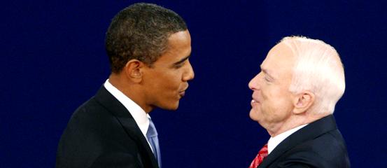 Barack Obama and John McCain Townhall Debate Photo Courtesy YahooNews