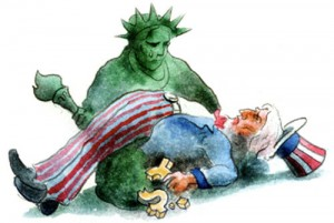 Uncle Sam and the Statue of Liberty - America in Decline?