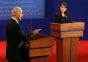 Democratic vice presidential nominee Sen. Joe Biden, D-Del., left, responds to a question during the debate with Republican presidential candidate, Alaska Gov. Sarah Palin, right, at Washington University in St. Louis, Mo., Thursday, Oct. 2, 2008. (AP Photo/Rick Wilking, Pool)