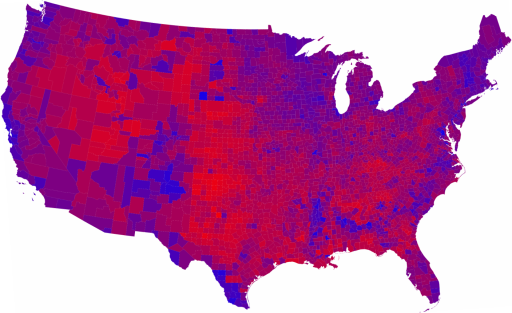 2008 Election County-By-County Map 'Purple America'