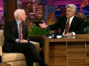 """Nov. 11, 2008: John McCain talks about life after the presidential campaign with Jay Leno on the """"Tonight"""" show. (NBC)"""