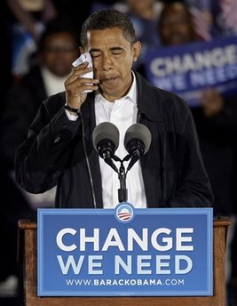 Democratic presidential candidate Sen. Barack Obama, D-Ill. wipes a tear as he talks about his grandmother, Madelyn Payne Dunham, at a rally in Charlotte, N.C., Monday, Nov. 3, 2008. Obama's grandmother, who helped raise him, died peaceably in her sleep Obama announced Monday, one day before the election. She was 86.  (AP Photo/Chuck Burton)