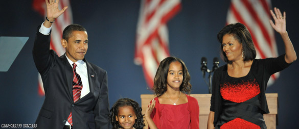Barack Obama victory speech family photo. (AFP/Getty Images)