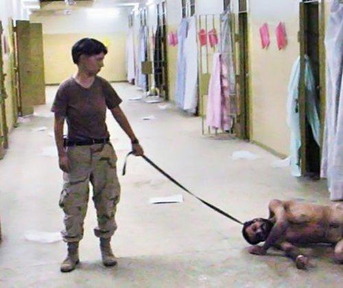 Lyndie England at Abu Ghraib