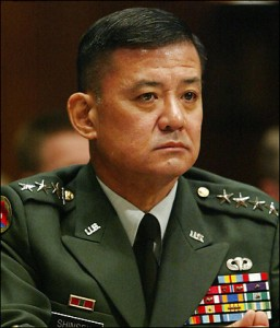 Gen. Eric K. Shinseki disputed the administration's strategy of invading Iraq with a relatively small force. He retired shortly after Baghdad fell in 2003. (By Charles Dharapak -- Associated Press)