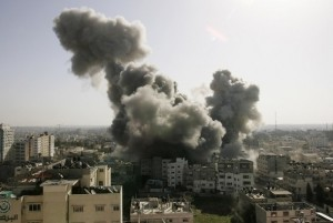 Smoke rises over the main Hamas security complex following an Israel air strike in Gaza December 28, 2008. Israel launched air strikes on Gaza for a second successive day on Sunday, piling pressure on Hamas after 229 people were killed in one of the bloodiest 24 hours for Palestinians in 60 years of conflict with the Jewish state.