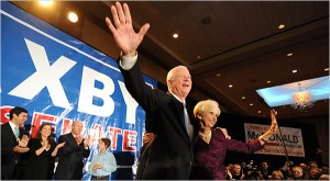 Senator Saxby Chambliss and his wife, Julianne, celebrating his victory on Tuesday in Atlanta. (Erik S. Lesser for The New York Times)