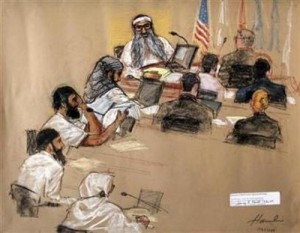 In this photo of a sketch by courtroom artist Janet Hamlin, reviewed by the U.S. Military, the five Sept. 11, 2001 attack co-defendants sit during a hearing at the U.S. Military Commissions court for war crimes, at the U.S. Naval Base, in Guantanamo Bay, January 19, 2009. From top to bottom, they are Khalid Sheikh Momhammed, Waleed Bin Attash, Ramzi Binalshibh, Ali Abdul Aziz Ali, and Mustafa Ahmad al Hawsawi. (Janet Hamlin/Pool/Reuters)