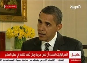 In an image made from a video provided by Al-Arabiya, President Barack Obama is interviewed in Washington by Dubai-based Al-Arabiya cable network Monday Jan. 26, 2009.  It was the Obama's first formal television interview as president given to an Arabic cable TV network. (AP Photo/Al-Arabiya)