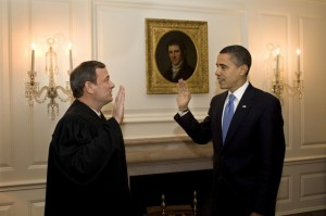 This official White House photograph shows US President Barack Obama (R) retaking the oath of office from Chief Justice John Roberts (L) January 21, 2009 in the Map Room of the White House in Washington, DC. In the highly unusual move, President Obama retook the oath of office after Chief Justice Roberts led him into a stumble when he was originally sworn in to become the 44th US president one day earlier.