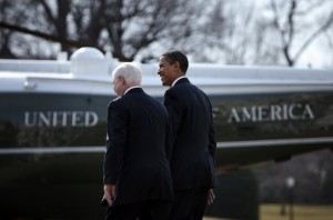 President Barack Obama (R) walks with Secretary of Defense Robert Gates (L) from the Oval Office to Marine One on the South Lawn of the White House February 27, 2009 in Washington, DC. President Obama is traveling to Camp Lejeune in North Carolina to announce his plans for eventual removal of troops from Iraq. (Getty Images)