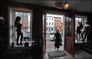 """Le Tache, at 210 King St. in Old Town Alexandria, has """"caused a lot of buzz"""" with its racy displays and adult inventory. (By Tracy A. Woodward -- The Washington Post)"""
