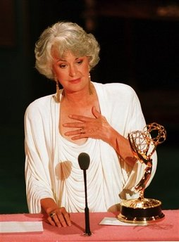 This Aug. 29, 1988 file photo shows actress Beatrice Arthur accepting her Emmy award at the 40th annual Emmy Awards ceremony in Pasadena, Ca. Family spokesman Dan Watt says the 86-year-old Arthur died at home early Saturday, April 25, 2009. He says Arthur had cancer, but declined to give further details. (AP Photo/Reed Saxon, File)
