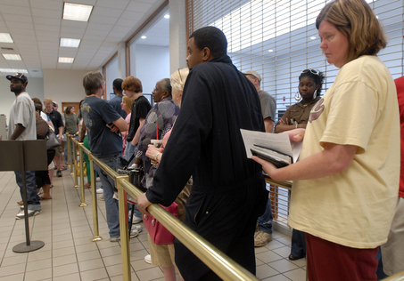 Penny Payton, far right, had waited more than 1½ hours at the Center Point satellite courthouse Friday to buy her car tag and still had more than 20 people in line in front of her. The office is one of the satellite courthouses the Jefferson County Commission is set to discuss closing to save money. (Jeff Roberts, Birmingham News)