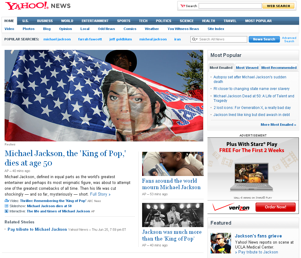 Michael Jackson News Saturation - Micheal Jackson Tops Iran!