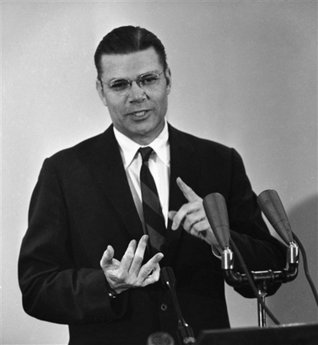 In a Nov. 17, 1961 file photo, Secretary of Defense Robert McNamara holds a news conference at the Pentagon. Former Defense Secretary Robert S. McNamara died Monday, jULY 6, 2009, according to his wife. He was 93. (AP Photo/Harvey Georges, File)