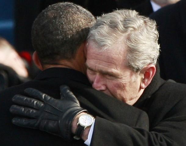 Obama-Bush Hug