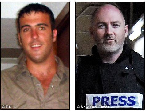 Corporal John Harrison (left) was killed in the SAS-led operation to rescue British journalist Stephen Farrell (right), which was launched after officials received intelligence that he was about to be moved into Pakistan's tribal areas