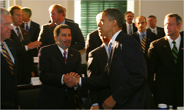 President Obama shook Gov. David A. Paterson's hand in December 2008 at an event with the National Governors Association in Philadelphia. Jim Wilson/The New York Times