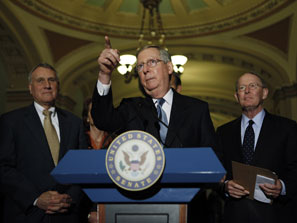 Mitch McConnell and his deputies in the Senate Republican leadership are responding very cautiously to Olympia Snowe's decision to become the first GOP vote for a Democratic health care reform bill.  Photo: AP