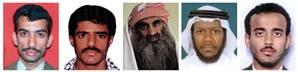 From left: Ali Abd al-Aziz Ali, Waleed bin Attash, Khalid Sheikh Mohammed, Mustafa Ahmad al-Hawsawi and Ramzi Binalshibh. (AP)